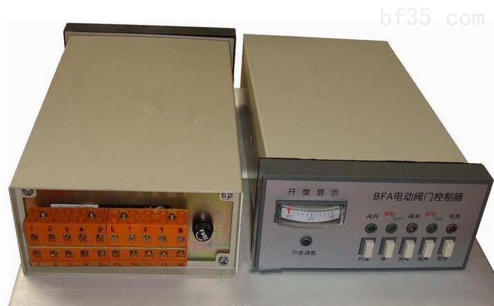 BFA型电动阀门控制器是与阀门电动装置配套使用的产品,用以控制电动阀门的开启和关闭。 电动阀门控制器技术参数: 1、工作电压:380V 50Hz 三相四线制。 2、控制功率:BFA-1 1.1Kw BFA-2 1.1Kw-4 Kw。 3、环境温度:-20—40。 4、周围不含有强腐蚀性、易燃易爆介质。 5、相对湿度不大于80%(20±5)。 6、外形尺寸80×160×290mm,开孔尺寸152+1mm×76+1mm。 7、重量:3Kg。